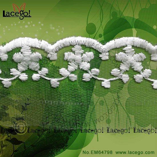 Wholesale Wedding Bridal Veil Embroidered Lace Trim