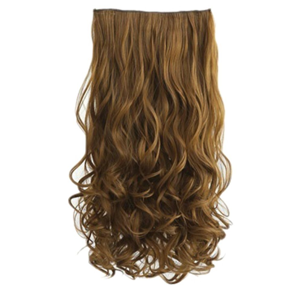 Hot Fashion Full Head Clip Curly Wavy Women Synthetic Hair Extension Extensions (Bloned Flaxen)