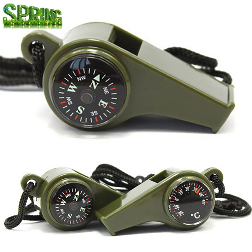 Wild jungle adventure Multifunctional survival whistle with compass and thermometer