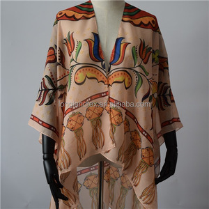 Womens sheer loose beach kimono dress digital print cardigan