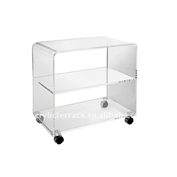 Acrylic 3 Tier TV Table With Wheels