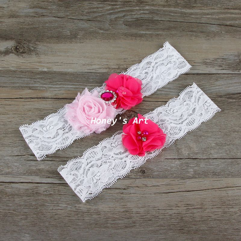 Red Wedding Garters: 2pcs/Set Bridal Garter Rose Red Keepsake Toss Vintage Lace