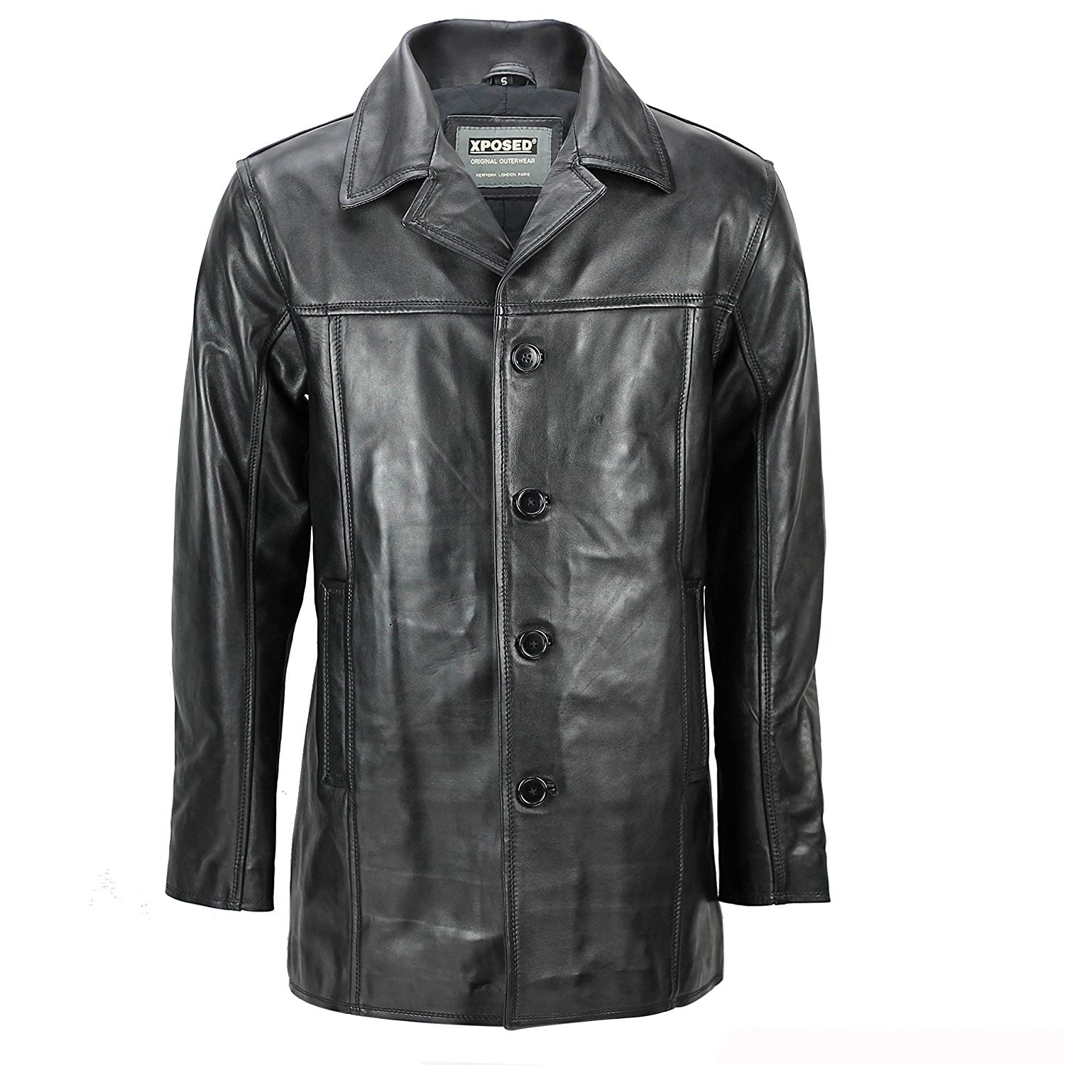 52b7e248c85b5 Get Quotations · XPOSED Mens Real Leather Blazer Style Button Coat Vintage  Smart Casual Black Reefer Jacket