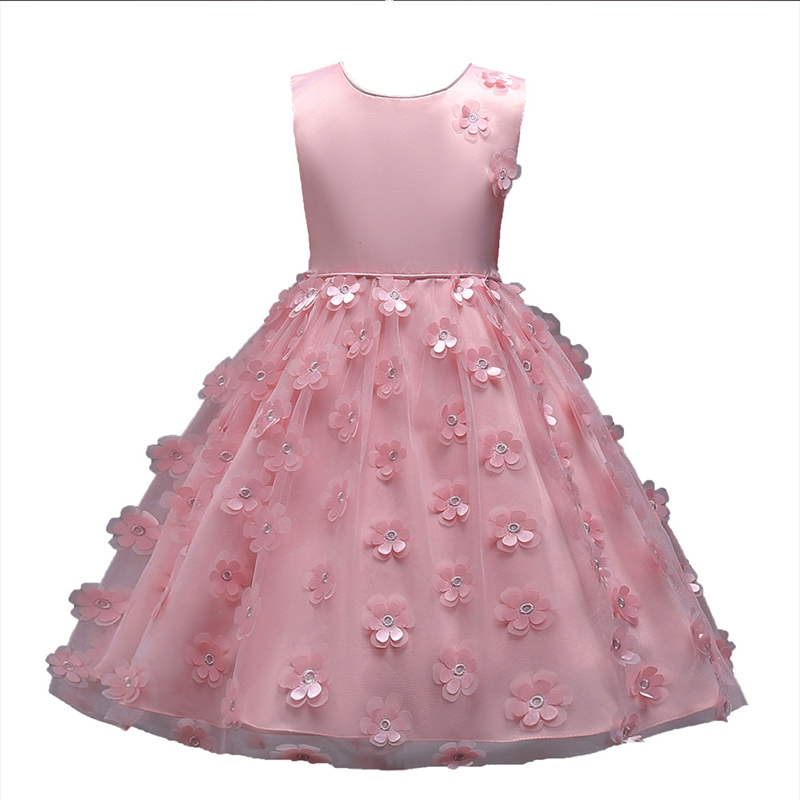 Factory supply Age 3 to 8 years old sleeveless summer flower frocks kids wear party princess dress