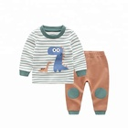 OEM baby fashion clothing sets kids pajamas winter christmas animal cartoon long sleeve cotton blank kids clothes wholesale