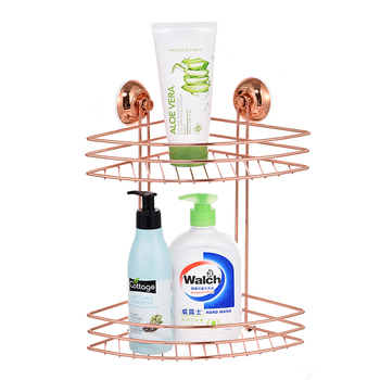 High Quality Bath Bedroom Suction Cup Rose Gold Shower Rack Corner Caddy Br