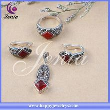 Round shaped earring ,pendant, ring set red agate thai silver hello kitty set jewelry 8386T2