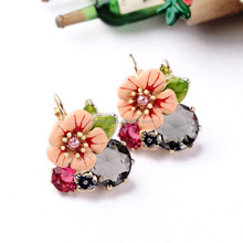 New Design arrival bohemia glass enamel flower beautiful ladies earrings