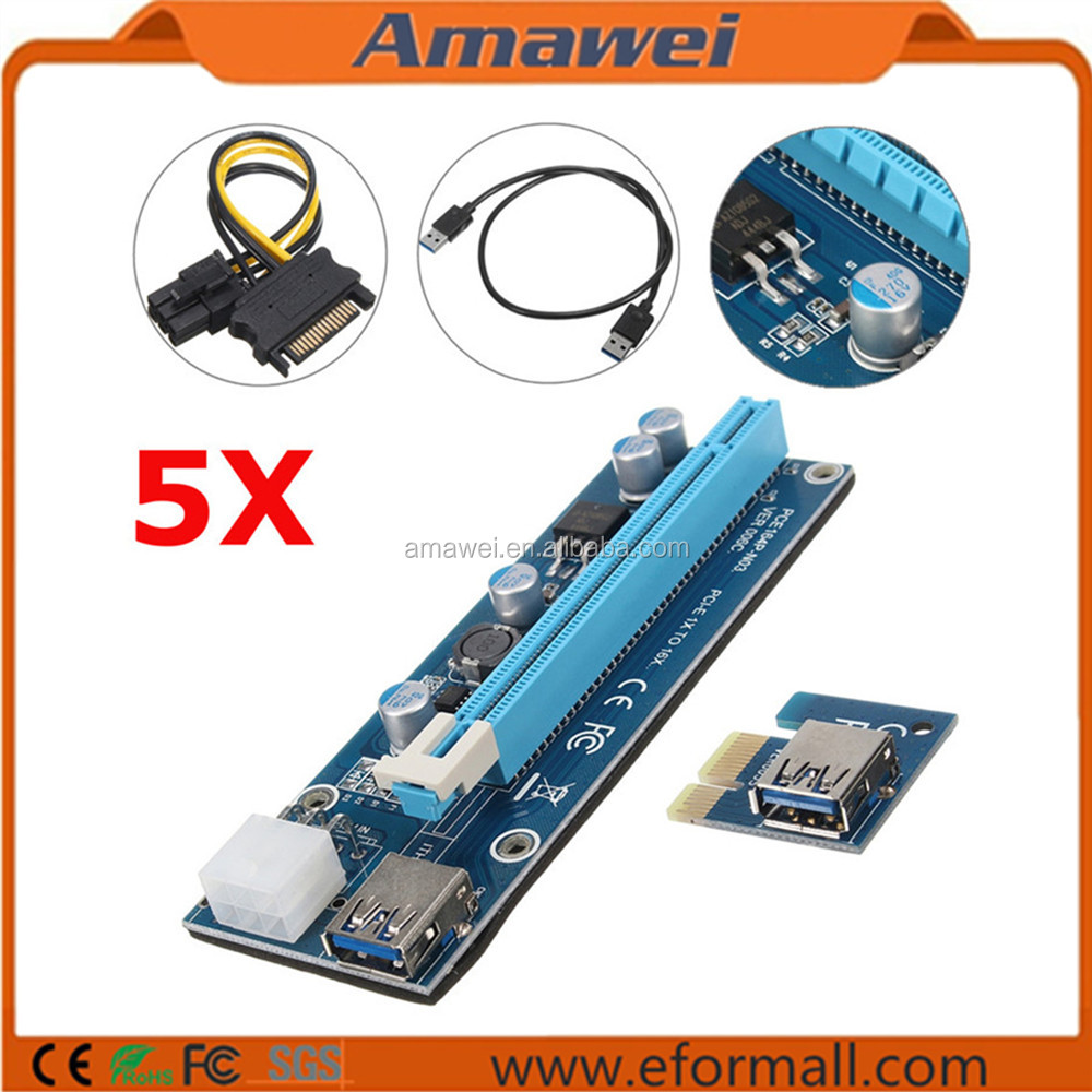 6pin Powered Supply Cord PCIe PCI-E 1x to 16x USB 3.0 Extender Riser Adapter Graphics Card with SATA Cable