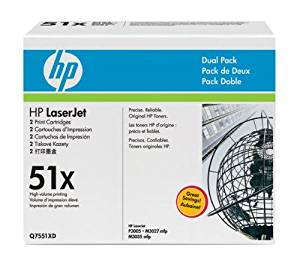 Hewlett Packard HP 51X LaserJet M3027 MFP, M3035 MFP, P3005 Series Smart Print Cartridge Dual Pack (13,000 x 2 Yield) (2 Pack of Q7551X) , Part Number Q7551XD