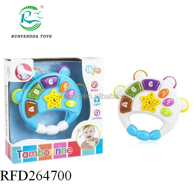 Projection hand rattle with music and light baby tambourine toy