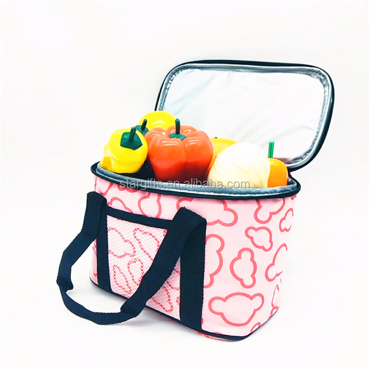 2019 Hot Sale Waterproof Custom Print  Handmade Cute Women Small Mini Pink Cooler Lunchbox Bag for Lunch Box