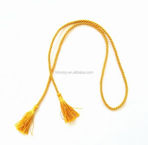 4mm Decorative Silk Cord with Tassels for Garment, Flag, Souvenir