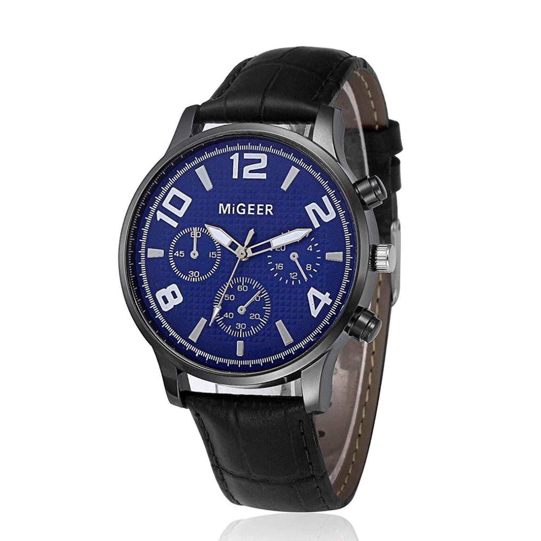 FAPIZI Quartz Watch}Clearance✿Mens Retro Design Leather Band Luxury Analog Alloy Quartz Wrist Watch