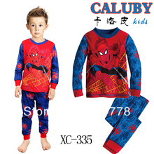 Hot Baby Boy's Pajamas student long sleeve T shirt+pant children's PJ  Casual 100% cotton kid's Sleeping Sear 6pcs/lot