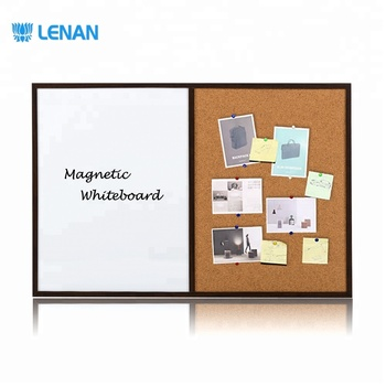 Magnetic dry erase combo board 1/2 Cork board 1/2 magentic white board with magnet