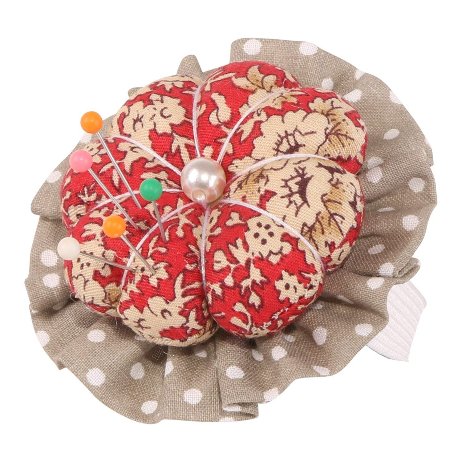 Neoviva Fabric Coated Pin Cushion with Wrist Band for Needlework Pack of 2 Style Pumpkin Floral Prism Pink
