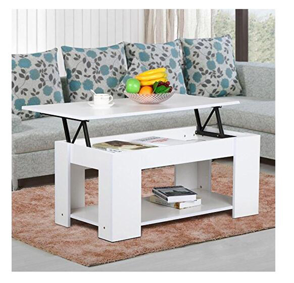 Wholesale Modern Occasional LivingRoom Multifunction White Extendable Fancy Lift Up Top Solid Wood Storage Coffee Table With Leg