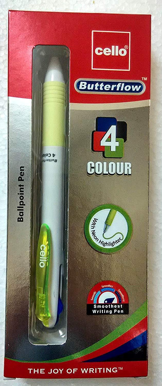 Cello Butterflow 4 Colour Ballpoint Pen - Blue, Black, Red & Green Neon Highlighter
