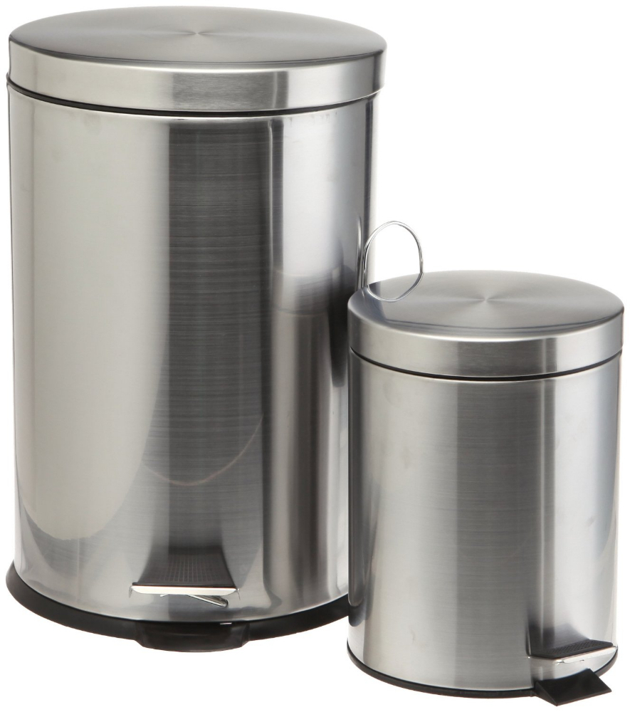 Stainless Steel Trash Cans Set Of