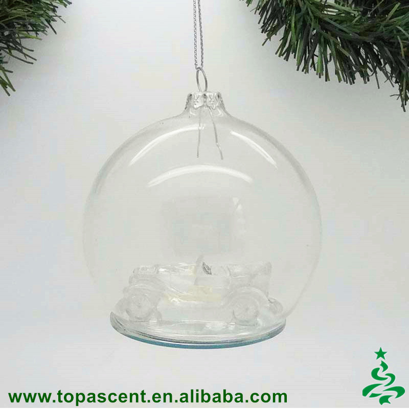 Wholesale handmade blown glass clear dome with vintage car inside christmas ornament made in China