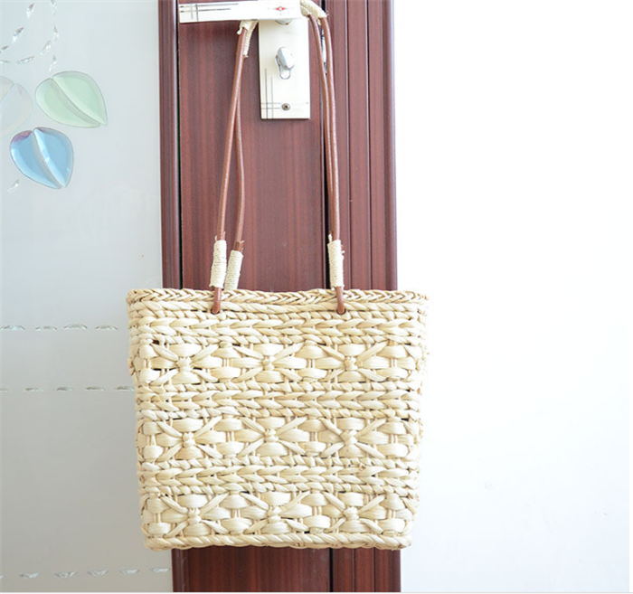 Summer Straw Woven Bag for Women Beach Handbag Cross Body Shoulder Bag Messenger Satchel