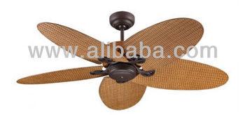 Fijian Ii 132cm Fan In Bronze With Coffee Coloured Rattan