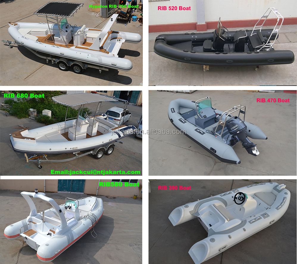 fiberglass inflatable rib boat with front bow box / oar / foot pump /repair kit / rear seat / steering / roll bar / light