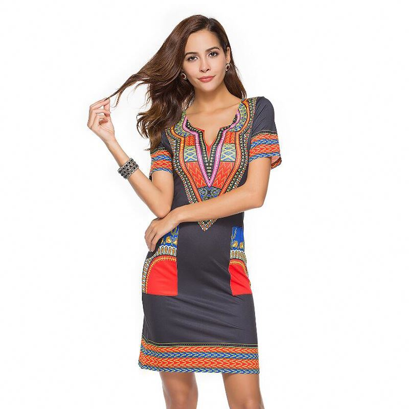 Women Summer V-Neck African Print Pencil Bodycon Party Dresses