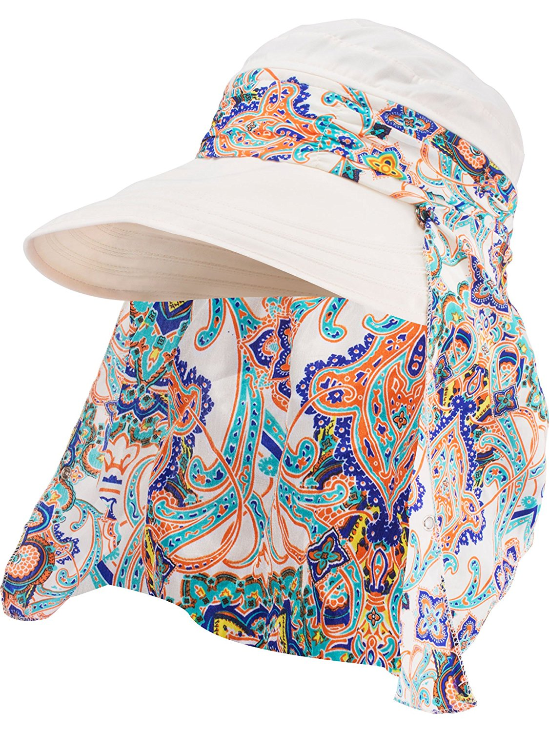 c90d0d6584c280 Get Quotations · Hestya 1 Pack Protection Summer Sun Hats Wide Brim Cap Sun  Visor Hats with Neck Protector