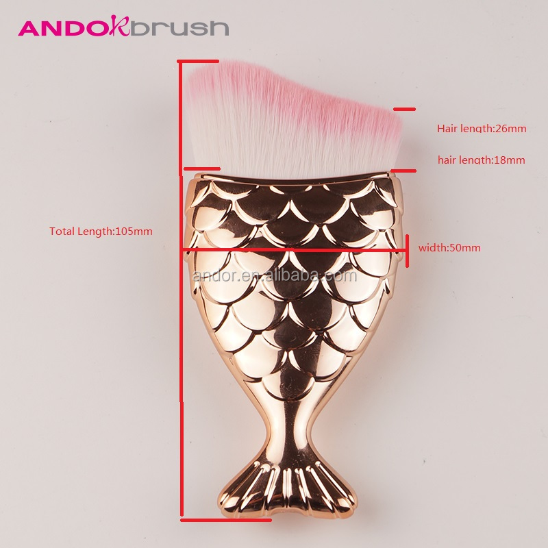 Small lovely fish soft Pink synthetic hair contour makeup brush blush concealer