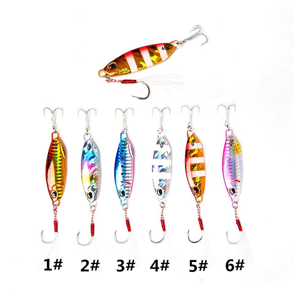 Slow Pitch Jig Shore Casting Jigging Lure Lead Fish Salt Water Sea Fishing Metal Jig lure, Six colors