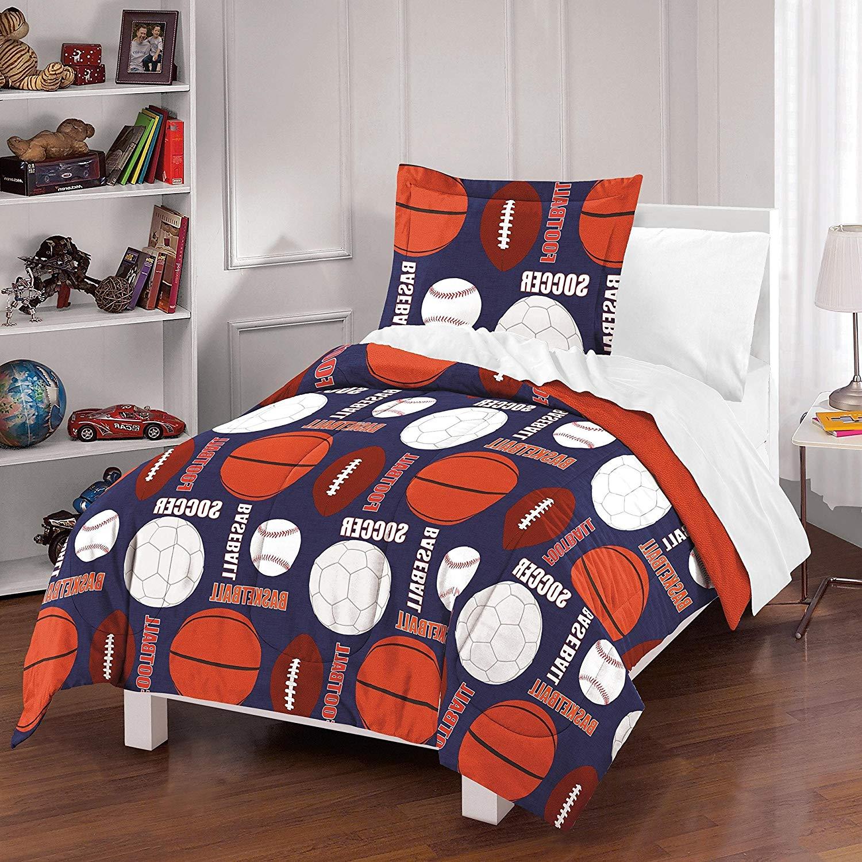 3 Piece Navy Blue Orange White Sports Thmemed Comforter Full Queen Set, Kids All Over Sport Equipment Ball Bedding, Boys All Over Multi Football Basketball Baseball Soccer Pattern, Cotton
