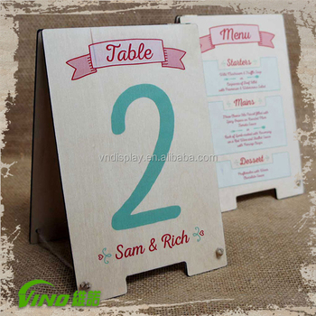 Restaurant Menu Display Table Stand WoodWooden Table TentMenu - Restaurant table tents and menu sign displays