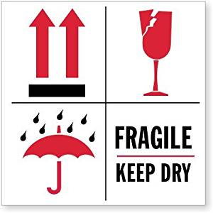 "Fragile Keep Dry (with Up Arrows, Umbrella And Broken, Paper Labels, 500 Labels / Roll, 6"" x 6"""