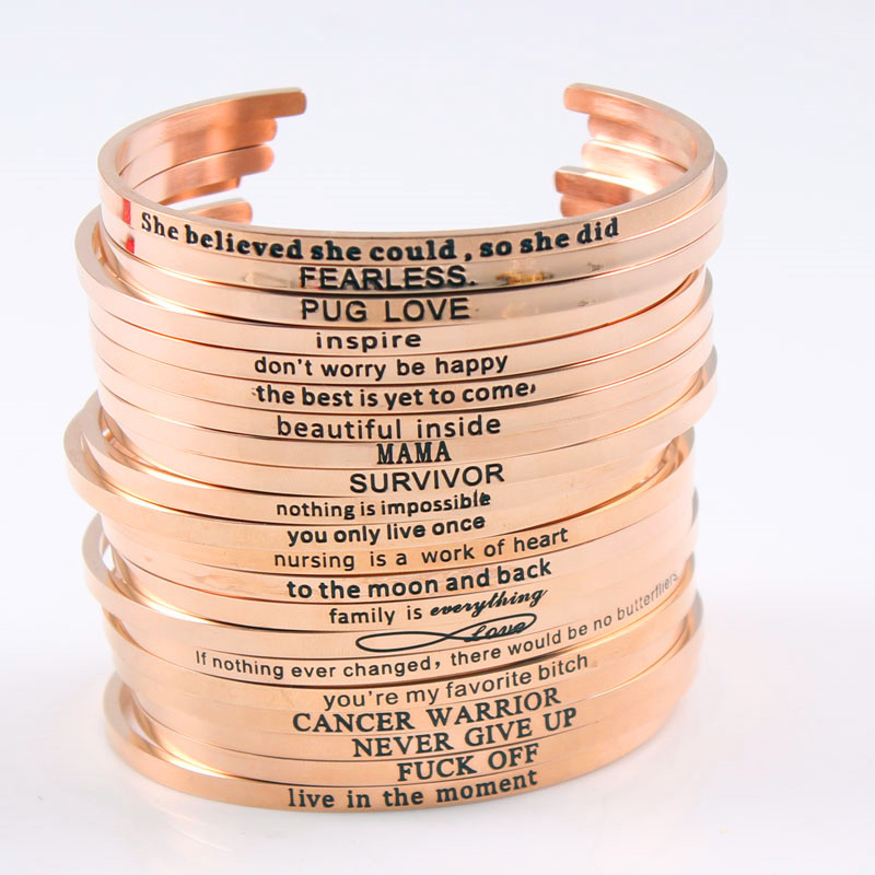 Customized Inspirational Stainless Steel Engraved Hot Sell Rose Gold Color Bangle For Women