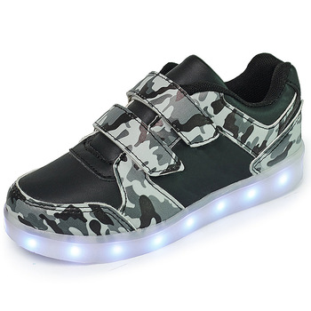 Children usb LED leather casual shoes fashion light up dance shoes school shoes for kids