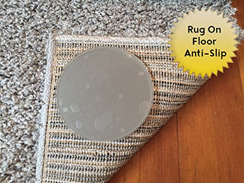 Carpet Anchor Sticky Discs Non-Slip Rug Pads for Rug-ON-Floor Anti-Slip. Rug Stickers. No Residue. 8 Pack. Limits Medium/Large Rugs/Exercise/Door Mats from Moving On Floors
