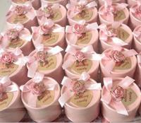 Wedding or Promotion Gift Box Light Pink Flower and Butterfly Knot Ribbon and Heart Tag on Top Light Pink Round Paper Candy Box