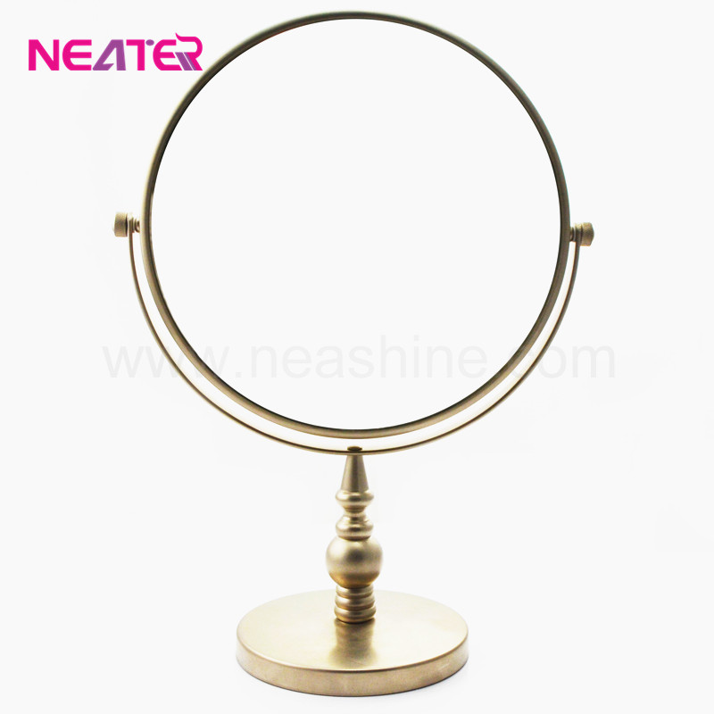 high quality home use vanity brozen finish round metal table cosmetic mirror