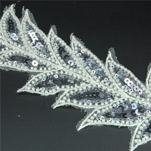 Wholesale white french heavy sequin beaded trim lace