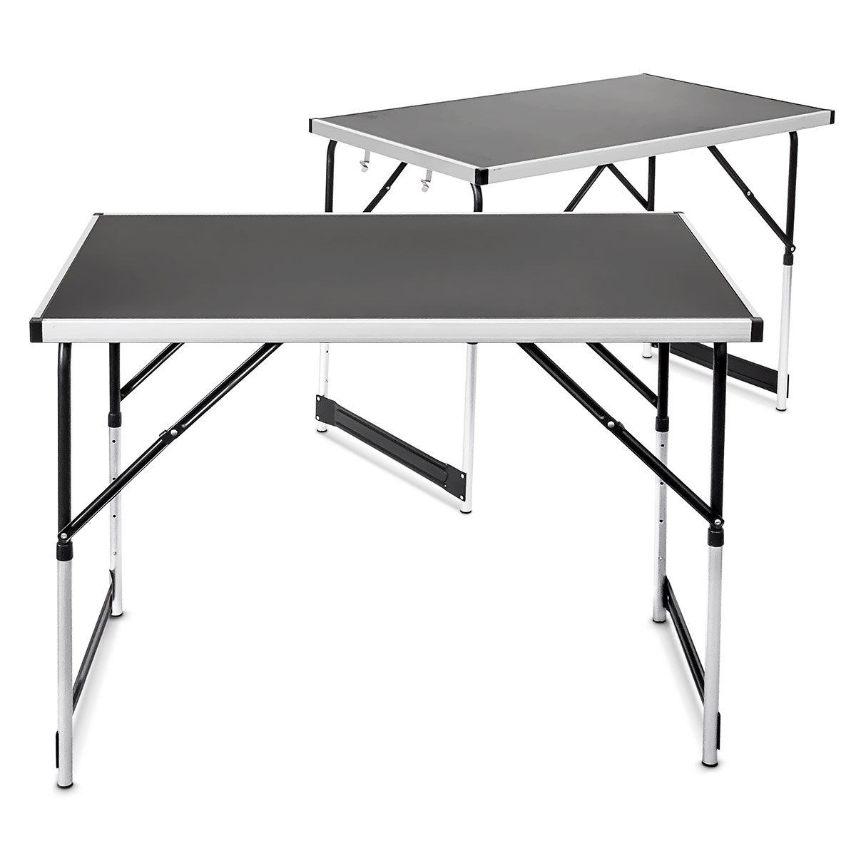 Relaxdays Multi-Purpose Aluminium Folding Tables Set Of 2 Adjustable In Height Pasting Tables