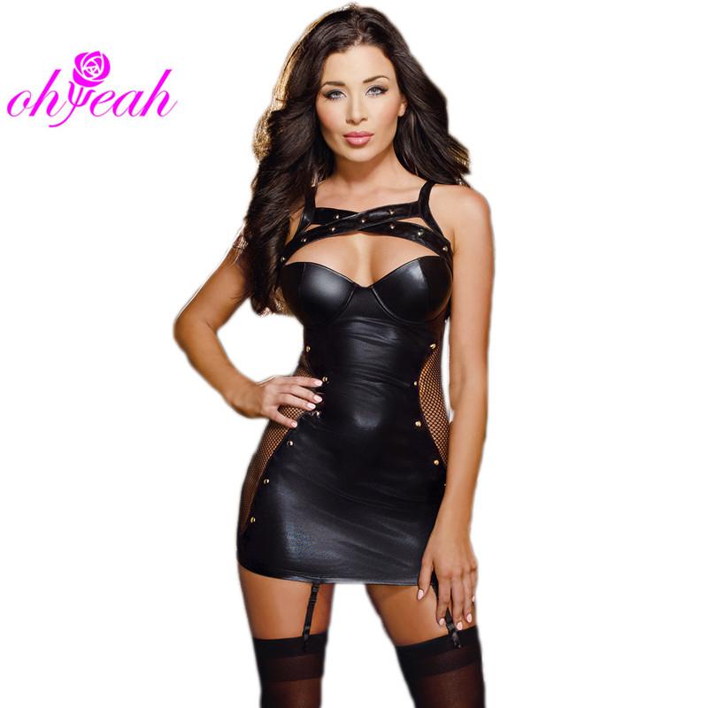0c5e515a045 Ohyeah brand new women dresses plus size hot sale sexy club dress fishnet  hollow out mini dress faux leather dress R7859