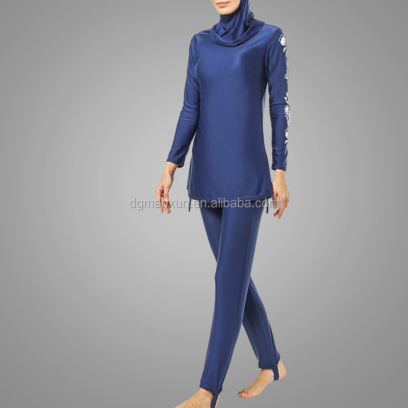2018 Modest Dubai Swim Suits High Quality Print Lycra Islamic Tracksuit Fashionable Muslim Turkey Swimming Wear