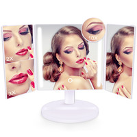 Belle 360 Degree Rotation 32 LED Lights Makeup Mirror Rechargeable Touch Screen 10X Desktop Mirror Telescopic Makeup Mirror