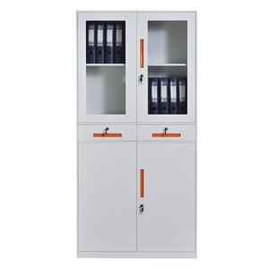 Durable Half Glass Swing Door File Cabinet Steel Office Cabinet With Two Drawers