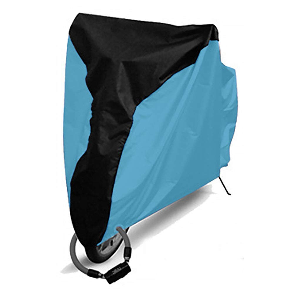 GETMORE7 Bike Cover, Bicycle Rain Cover Polyester Waterproof Anti Dust UV Protection Heavy Dustproof Cover for Mountain Bike, Road Bike(S,Middle Black+Light Blue)