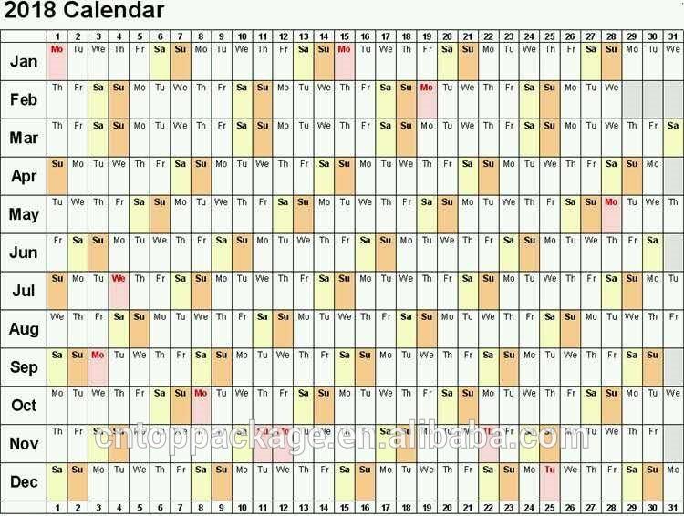 2017 2018 דפוס אופסט הדפסת לוחות שנה קיר שנתי הדפסת נייר