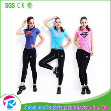 Customize short sleeve ladies compression shirts and pants
