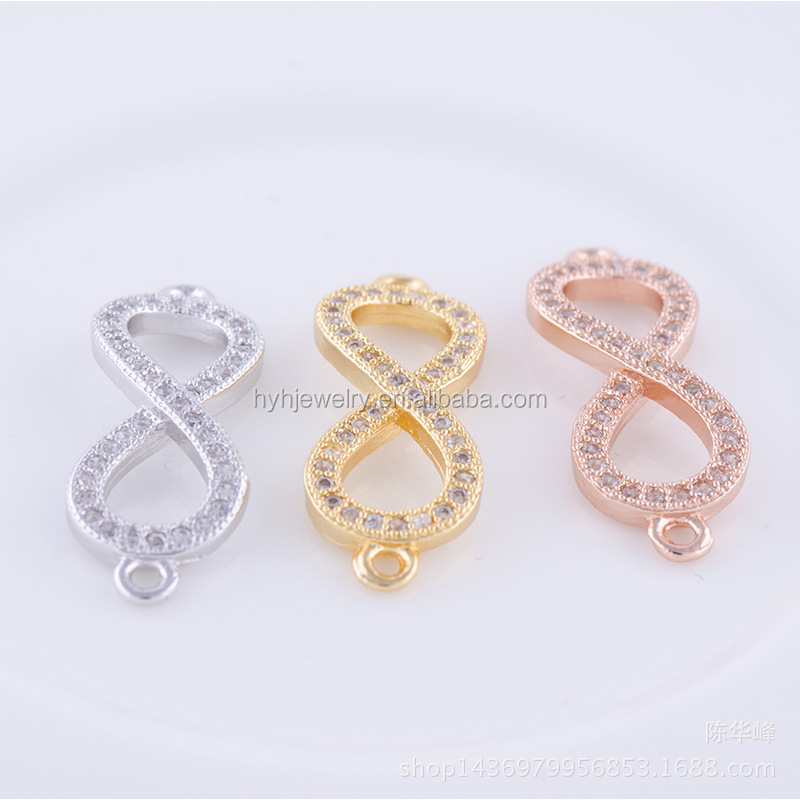 Factory wholesale link connectors infinity charms antique cubic zirconia jewelry findings